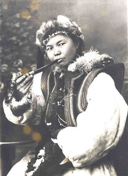 Oirat Woman, Oblispolk, Mongol, Russia. Taken during the 1920s.