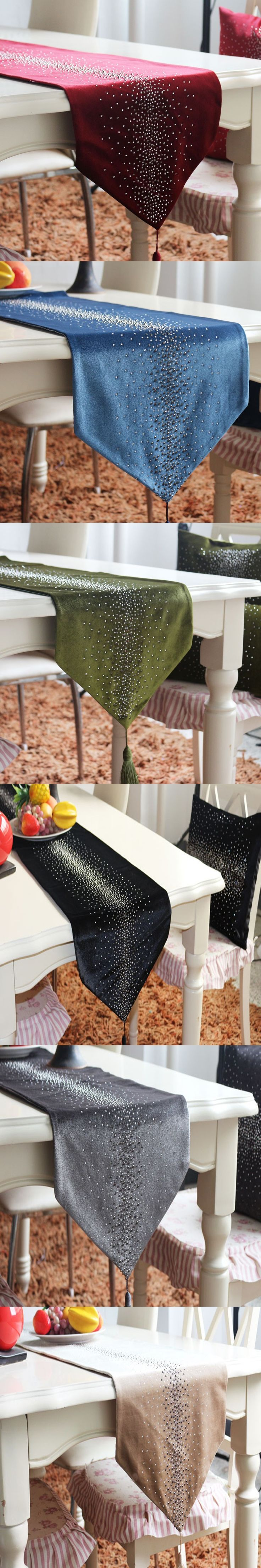 Colorful Fashion Table Runner Luxury Velvet Fabric Soft Rhinestone Dining Table  Runners Tea Flag Tablecloth Decorate For Home