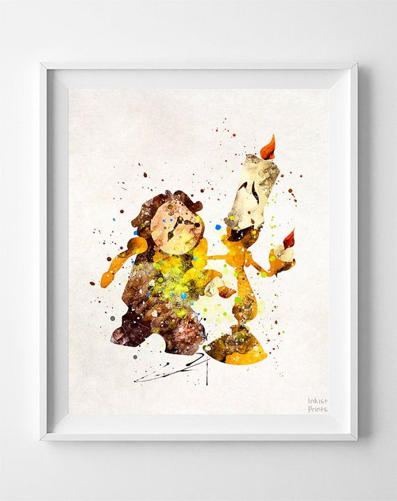 Bellezza e bestia Cogsworth stampa stampa Lumiere di InkistPrints