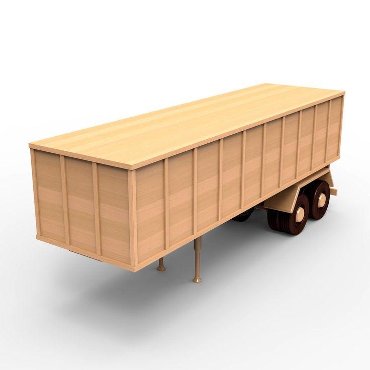 Semi-trailer for russian ZIL-137 wooden truck, wood model plan set for DIY #01. PDF digital file instant download. Light wood, dark wood by WoodenArmy on Etsy