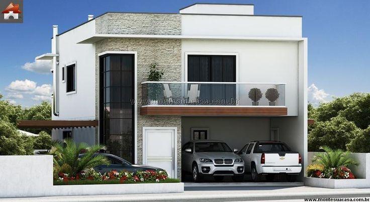 Planta de sobrado 3 quartos monte sua casa for Fachadas de apartamentos modernas