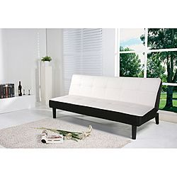 @Overstock - Add contemporary style to your living space with this white futon sofa bed. Made of solid wood with a black finish and upholstered with white PU leatherette, this futon features a European mechanism that converts from sofa to bed in seconds.http://www.overstock.com/Home-Garden/Columbus-White-Futon-Sofa-Bed/6364717/product.html?CID=214117 $429.99