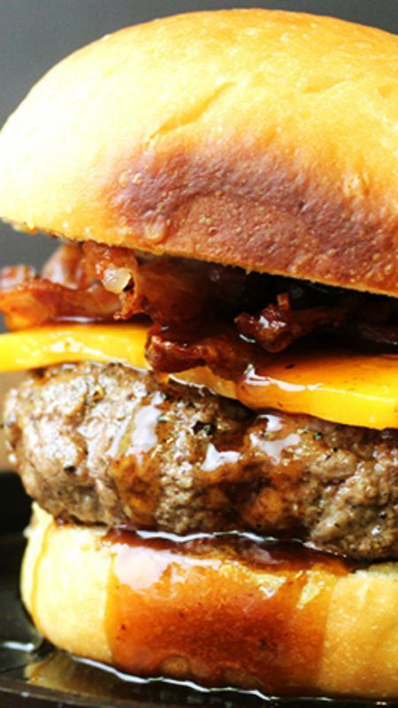 TGIFridays Inspired Jack Daniel's Bacon Cheeseburger ~ Jack Daniel's sticky, sweet & spicy sauce on a delicious bacon cheeseburger... The sauce is a perfect topper for ribs, chicken, shrimp or burgers. Also works great as a dipping sauce