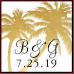"""Faux gold foil look palm tree with a customizable monogram and wedding date (or change the date to read RSVP if you'd like a custom stamp for your wedding invitation rsvp cards!) * * * Personalize by entering your initials and date OR click the """"customize"""" button to play with different fonts and even move the palm tree artwork, apply different filters, and have fun creating your own tropical palm tree stamp !* * * Black border can be removed by selecting a white background color..."""