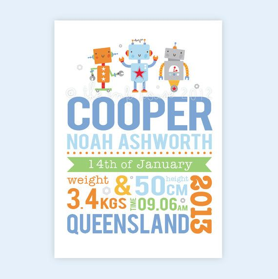 ROBOT BUDDIES Personalised Birth Print -  custom announcement gift baby boy wall art nursery decor blue orange green