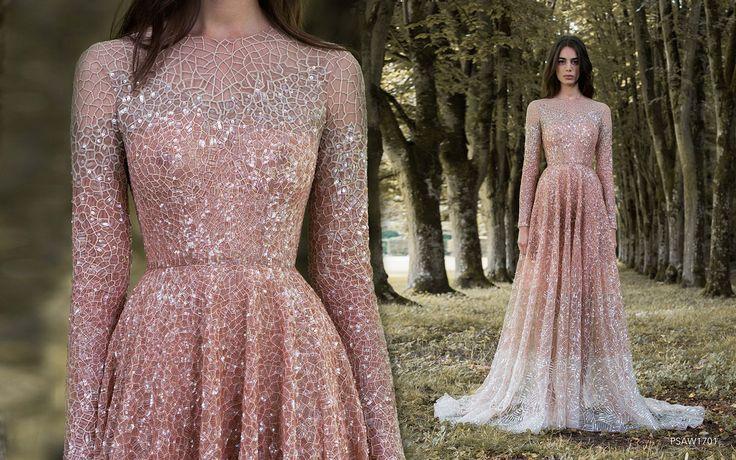 Rose gold dragonfly gossamer wing-inspired high neck long sleeved wedding dress…