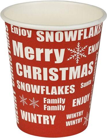 Engångsbägare, Christmas 25 cl, 25 cl 20-pack, 3108837, julbordet, juldekorationer, julpynt, vitt, rött, vit, röd, juldukning, merry christmas, engångsmugg, engångsbägare, pappersmugg, pappersbägare, mugg