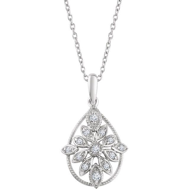 Please Take A Moment To Visit Our Store!    MSRP: $999.99  Our Price: $699.99  Savings: $300.00    Item Number: 652607    Availability: Usually Ships within 5 Business Days    PRODUCT DESCRIPTION:    Crafted in 14k Gold, this beautiful drop pendant for her features brilliant round diamonds in a floral design wrapped in a pear-shape milgrain finish for a truly vintage look.    FEATURES:    14k White Gold  1/6 Carat Total Diamond Weight  Floral Design  Milgrain Finish  Vintage Appeal…