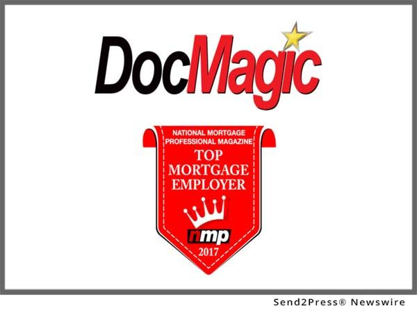 "DocMagic, Inc., the premier provider of fully-compliant loan document preparation, regulatory compliance and comprehensive eMortgage services, announced that it was named to National Mortgage Professional (NMP) magazine's annual ""Top 100 Mortgage Employers"" list for 2017. This is the second consecutive year that DocMagic has earned placement on the annual list."