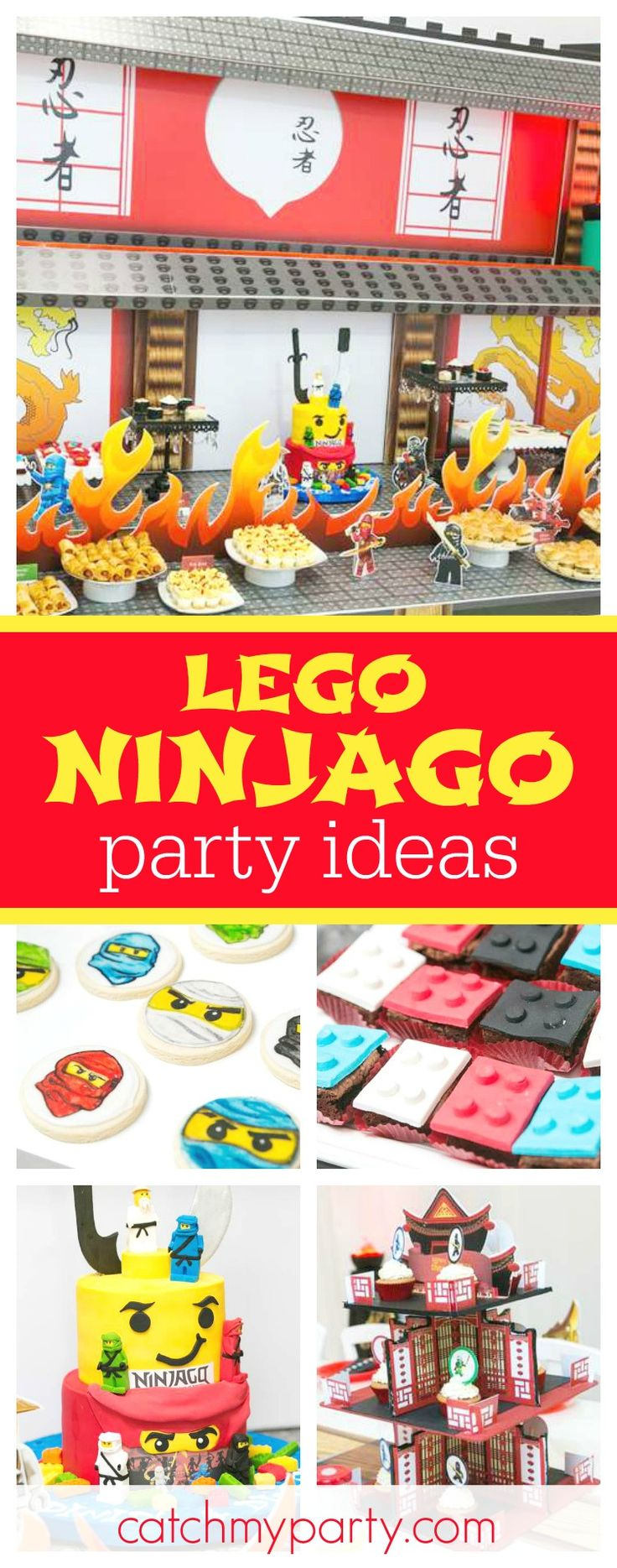 Check out this awesome Lego Ninjago birthday party. The dessert table and the backdrop are incredible!! See more party ideas and share yours at CatchMyParty.com
