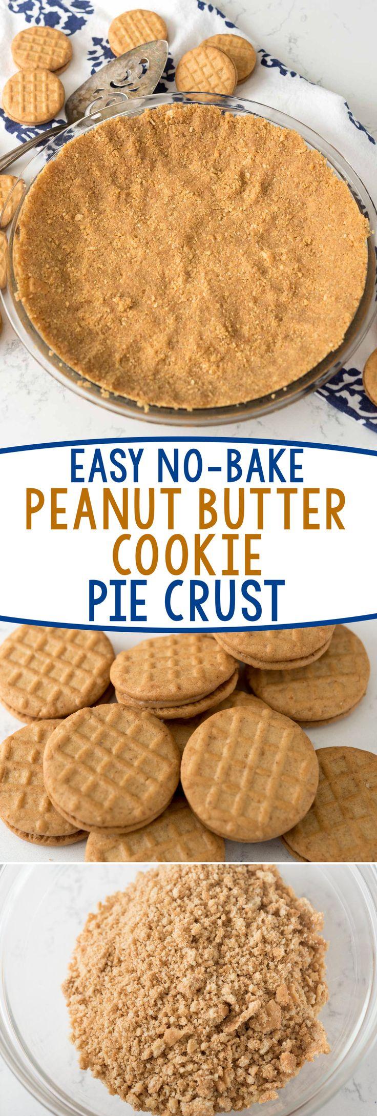 Gemakkelijk No-Bake Peanut Butter Cookie Korst - deze korst recept is perfect voor elke no-bake pie! Gebruik uw favoriete broodje pindakaas koekjes!