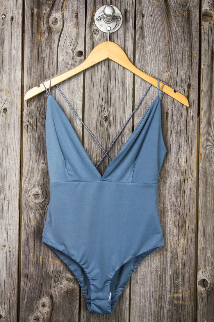 Spaghetti Strap Back Deep V Bodysuit - Dusty Blue