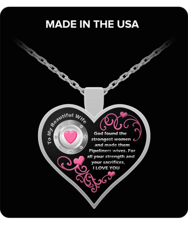 Pipeliners Wife Necklace - Love Pipeliner Wife - Pipeline Welders Pipelines Gift Jewelry Pendant Gifts