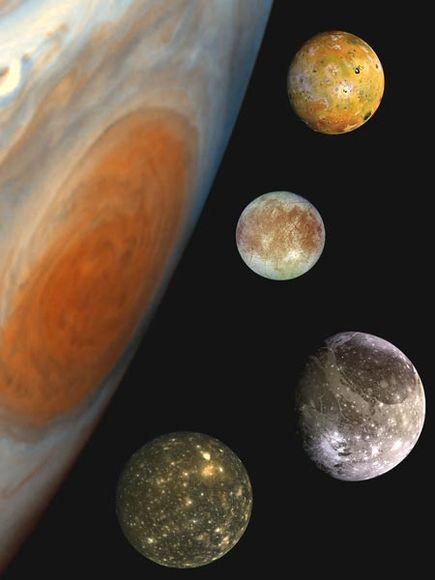 This family portrait, a composite of the Jovian system, includes the edge of Jupiter (with the Great Red Spot visible) and Jupiter's four largest moons, known as the Galilean satellites. From top to bottom are Io, Europa, Ganymede, and Callisto. The smallest of these four moons, Europa is about the size of Earth's moon.