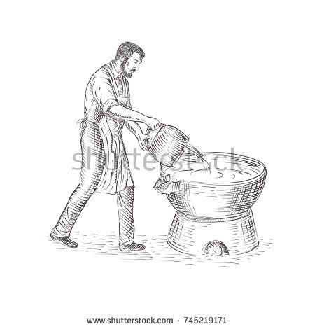Drawing sketch style illustration of a 19th century vintage candlemaker or chandler pouring candle wax making candles on foundry viewed from side isolated background.  #candlemaker #drawing #illustration
