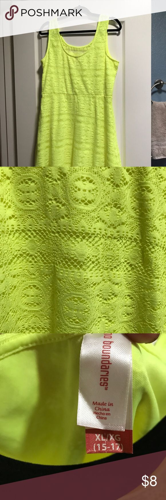 """""""Highlighter"""" neon yellow lace dress Adorable lace highlighter neon yellow dress. A-line or skater dress. Above knee. Pair with a cute belt and statement necklace! I wore this with a cardigan to work! Lots of compliments! You'll be sure to get noticed in this fun, bright dress! Size XL   Note: color in pics seems pastel yellow, however this dress is highlighter NEON yellow. See actual yellow highlighter in pic for reference. No Boundaries Dresses"""