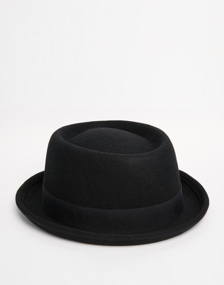 Imagen 1 de Sombrero pork pie de fieltro negro de ASOS