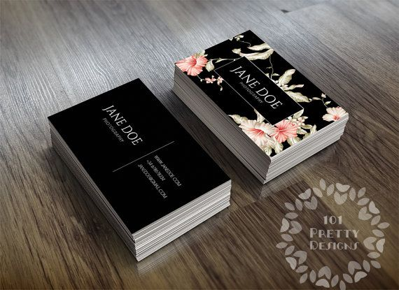 Floral business card design, custom business card template, printable business card design, premade business card, black elegant graphic