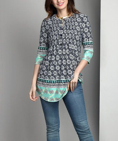 Loving this Blue Floral Notch Neck Pin-Tuck Tunic - Plus on #zulily! #zulilyfinds