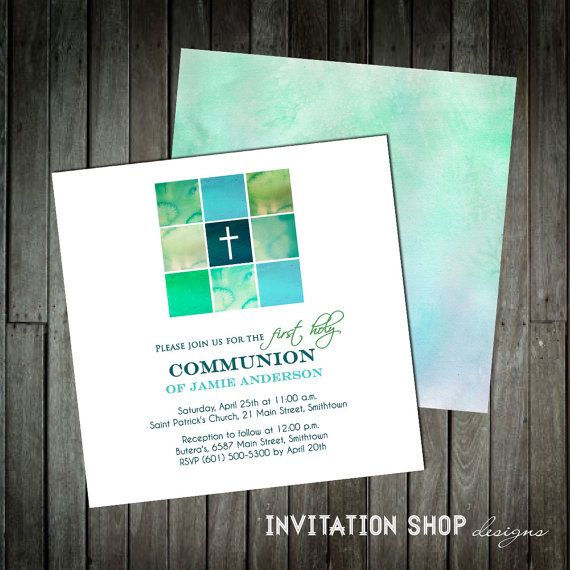 Modern Cross Communion Invitations - First Holy Communion Invitation for Boys with a modern beautiful hand painted church window