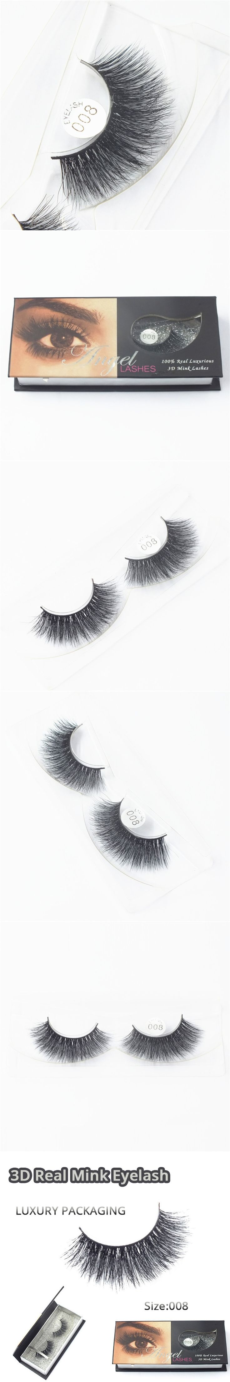 Wholesale Natural 3D 100% Real Mink False Eye Lashes/ Permanent Mink Fake Eyelashes Extensions For Makeup Free Shipping M008