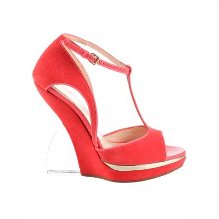Lacrom - Maria Biandr - Enza Suede sandal with plexiglass plateau and heel.  French footwear: it tends to fit a size less.