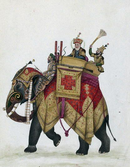 Akbar II and his son behind him on an elephant