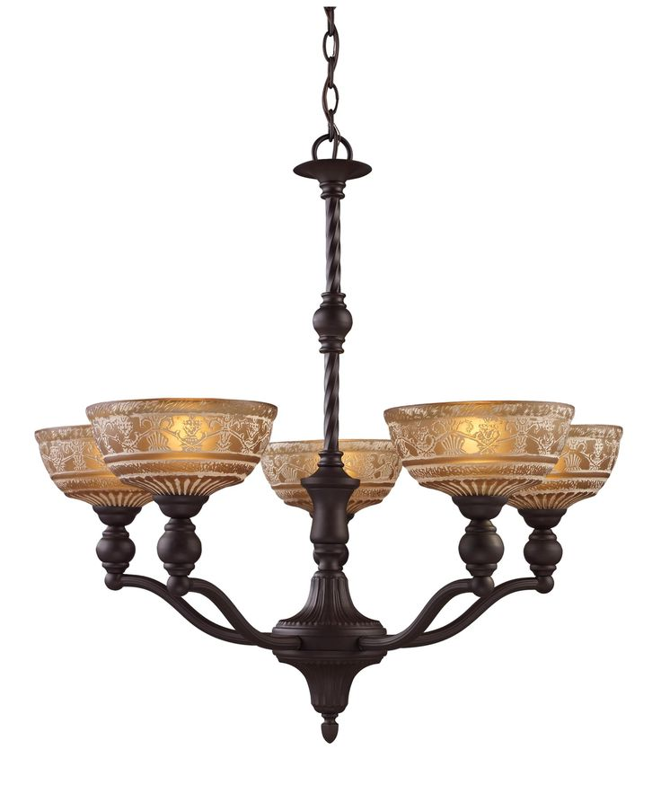Landmark Lighting Norwich Chandelier In Oiled Bronze