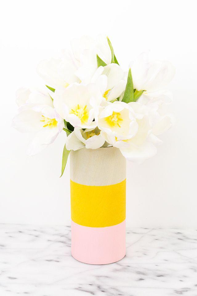 Handmade modern painted wood vase.