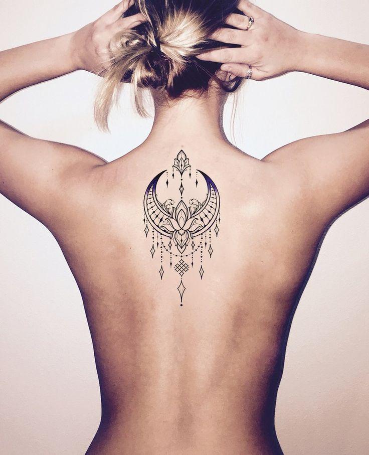 Unique Boho Moon Back Tattoo Ideas for Women – Tribal Lotus Chandelier Spine Tat