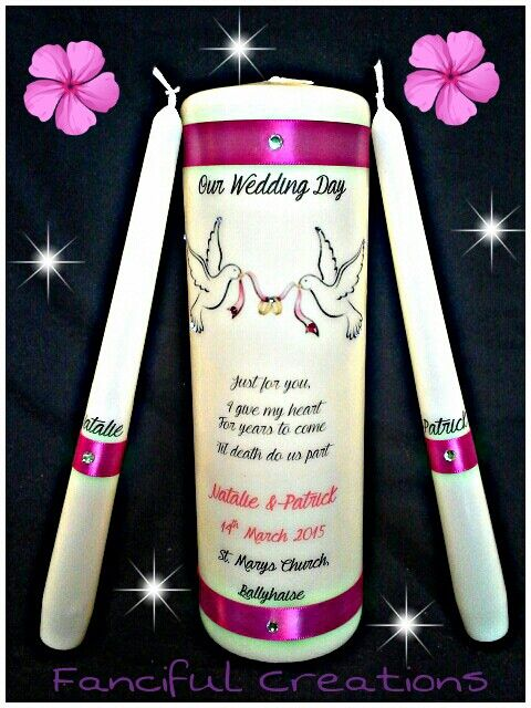 25cm wedding unity candle set in fuchsia pink with doves. Love it! https://m.facebook.com/personalised.candles.for.all.occasions