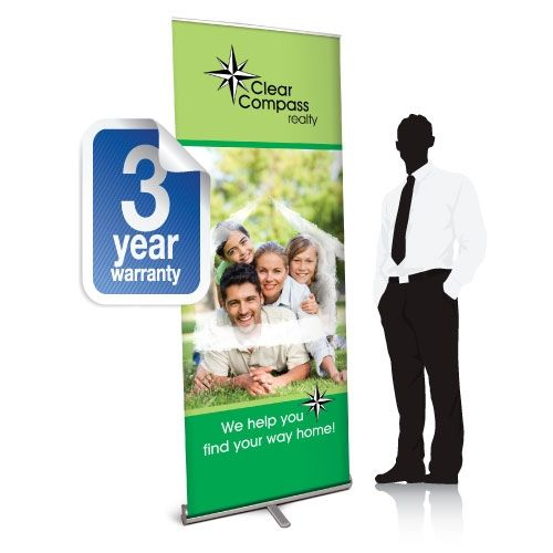 Retractable banner with logo on top