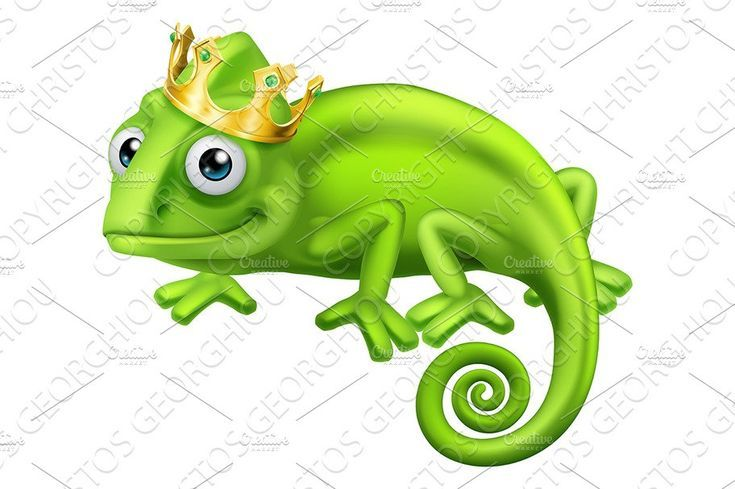 Chameleons Cartoon Reptiles Cartoon Lizard Crown Illustration Lizard