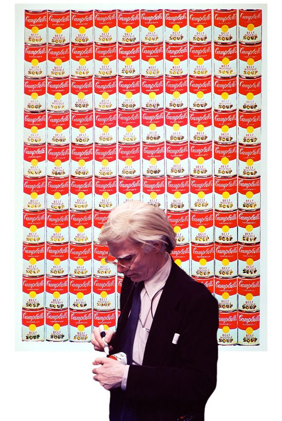 Andy signs soup cans.
