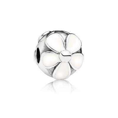 PANDORA | Daisies silver clip with white enamel
