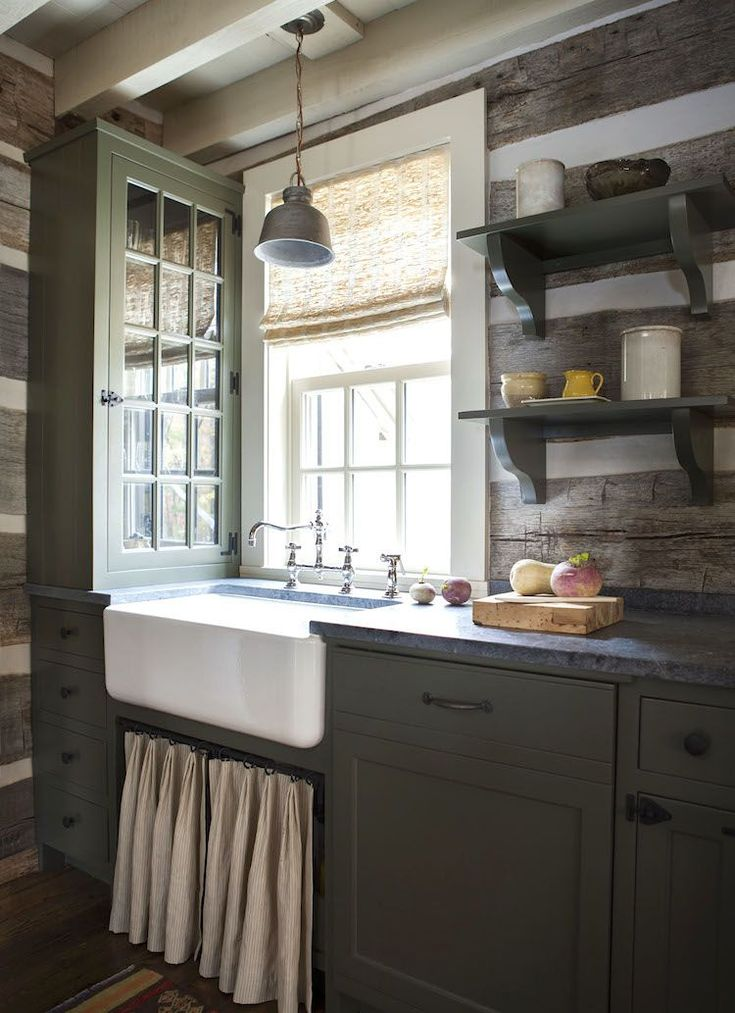Stuck With A Dark Rustic Home And I Hate It! - sink skirt Laurel Bern blog