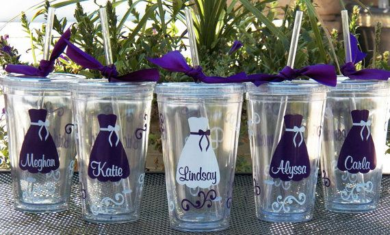 6 Personalized Bride, Bridesmaid, Junior Bridesmaid, Flower Girl and Maid of Honor Acrylic Tumblers, Great Bridesmaid Gifts