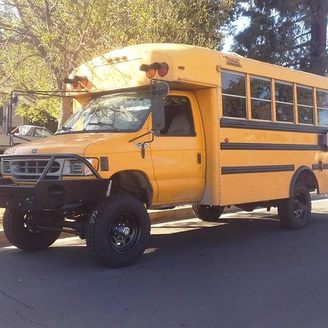 Yellow School Bus Conversion Underway Aluminess Front Winch