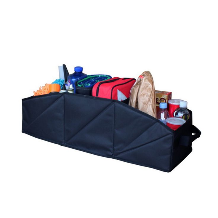Furnistar Three-Pocket Organizer Storage Bag for Vehicle/Car. This handy vehicle organizer has a space for everything you might need on long car trips and day to day outings. Three large compartments keep your groceries from tipping over on the drive home. It can also hold cleaning supplies jumper cables or anything else that was previously loose in the trunk. This organizer makes a great practical gift and be sure to pick one up for each vehicle