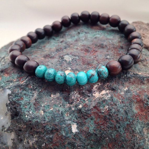 Tiger ebony and natural turquoise bracelet Tiger ebony by Chalso