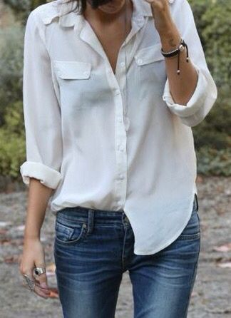 white shirt and jeans.