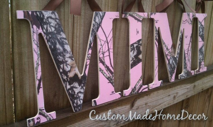 9 1/2 Pink Mossy Oak Camo Letters by CustomMadeHomeDecor on Etsy, $8.00