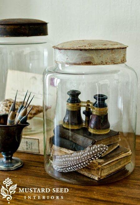 Love the idea of the books in a jar or cloche https://www.facebook.com/media/set/?set=a.246180295567644.1073741875.137955556390119&type=1