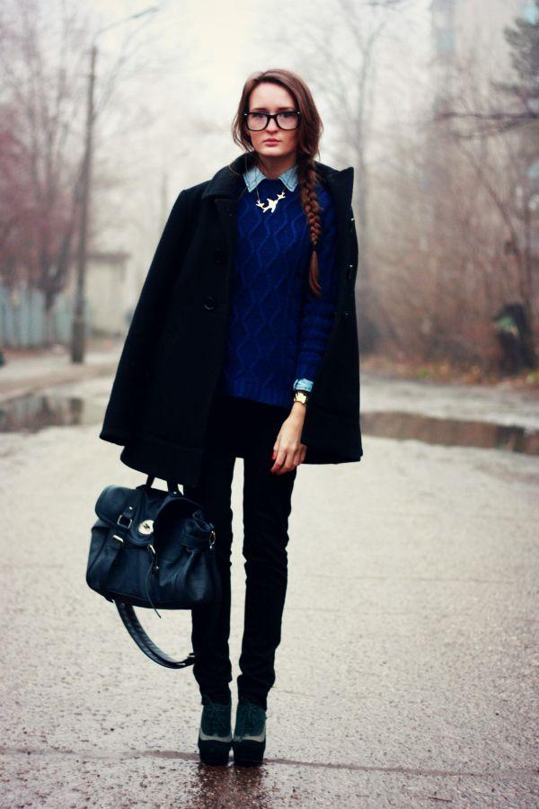 Mrs. Whiskers Closet: Glasses+Black Coat