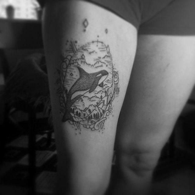 Awesome orca tattoo by @leftytombu