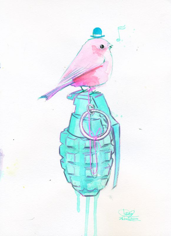 Mr Bird and Grenade  Me on...   Grunge art by Lora Zombie