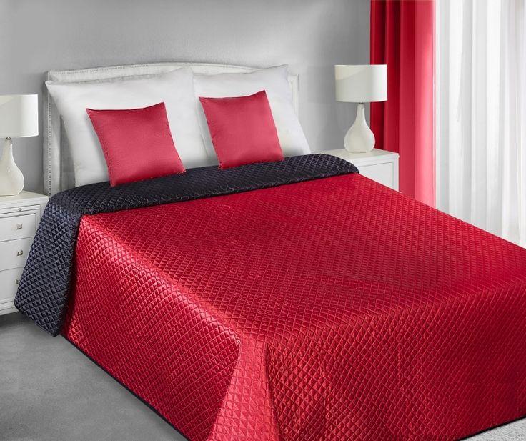 Saténové přehozy na manželskou postel oboustranné červeno černé barvy