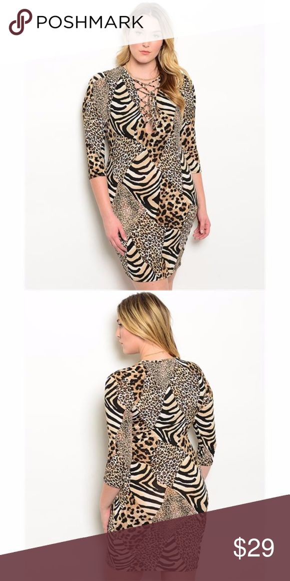 """(Plus) Curvy Cheetah Print Dress Tunic Trendy bodycon dress features 3/4 sleeves and plunging neckline with lace up detail. Great to wear out with your favourite heels. Fab as a tunic with your favorite black or coffee brown leggings.Silky Soft with stretch.  New in Package  Country: USA Fabric Content: 95% POLYESTER 5% SPANDEX Size Scale: 1XL-2XL-3XL  Description: 1XL  L: 40"""" B: 36"""" W: 34"""" 2XL  L: 41"""" B: 38"""" W: 36"""" 3XL  L: 42"""" B: 40"""" W: 38"""" BohoBeauRoseBoutique Dresses Mini"""