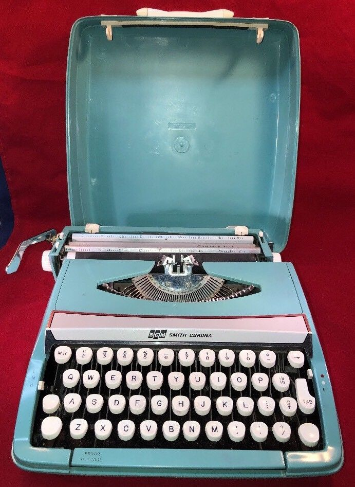Smith Corona Corsair Deluxe Portable Typewriter SCM Light Blue Case Decorative  | eBay