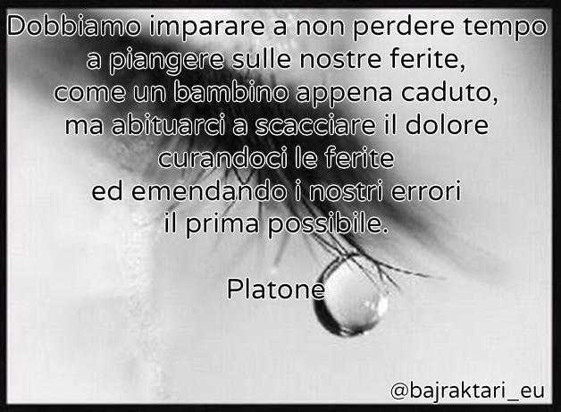 Dobbiamo imparare a non perdere tempo a piangere sulle nostre ferite, come un bambino appena caduto,....  Platone
